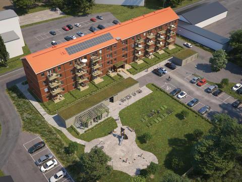 Översiktsillustration av det nya kvarteret BoKlok Arboristen i Falun.