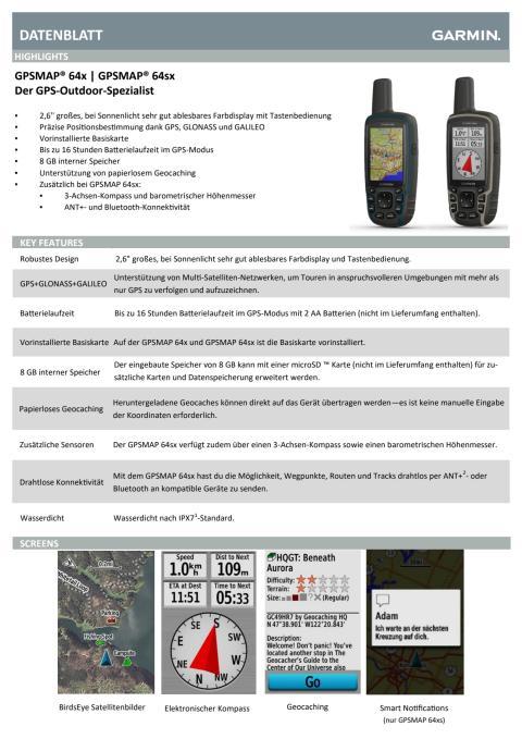 Datenblatt Garmin GPSMAP 64x/ 64sx
