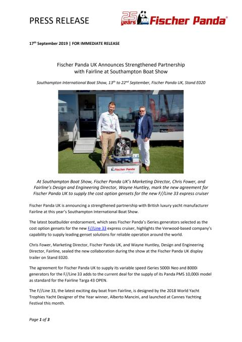Fischer Panda UK Announces Strengthened Partnership with Fairline at Southampton Boat Show