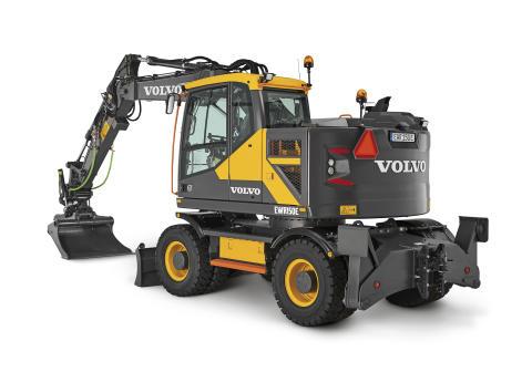 Volvo EWR150E grävmaskin - studiobild (vänster bak)