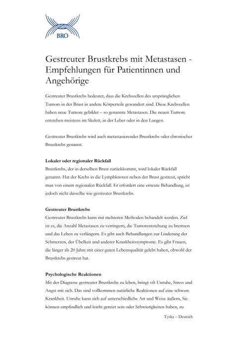 Gestreuter Brustkrebs mit Metastasen - Empfehlungen für Patientinnen und Angehörige - Fakta om spridd bröstcancer på tyska
