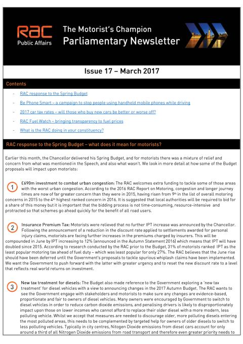 RAC Parliamentary Newsletter #17 - March 2017