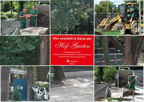 Auszubildende der Sparkasse Neuss bauen einen Hof-Garten für den Kinderbauernhof Neuss