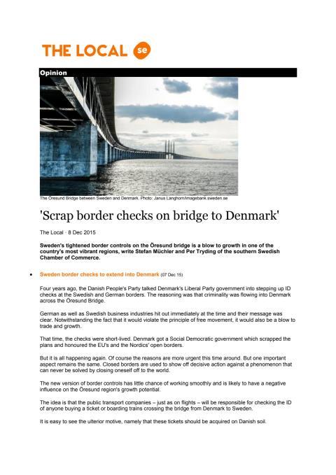 Scrap border checks on bridge to Denmark