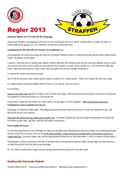 Regler Glada Hudik Straffen 2013