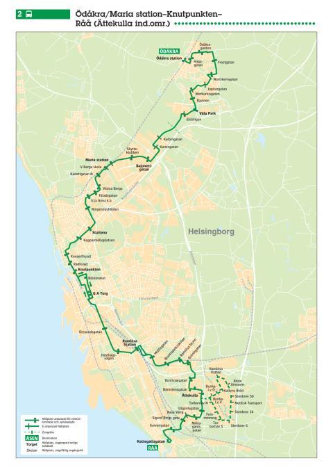 Stadsbuss linje 2 i Helsingborg - karta och tidtabell - 13 augusti 2017