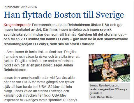 Han flyttade Boston till Sverige