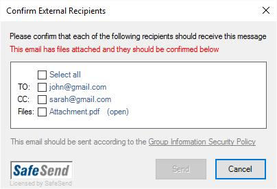 Prompt before sending email to outside recipients