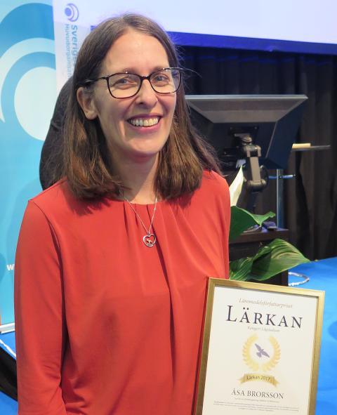 Åsa Brorsson vid prisutdelningen av Lärkan 2017