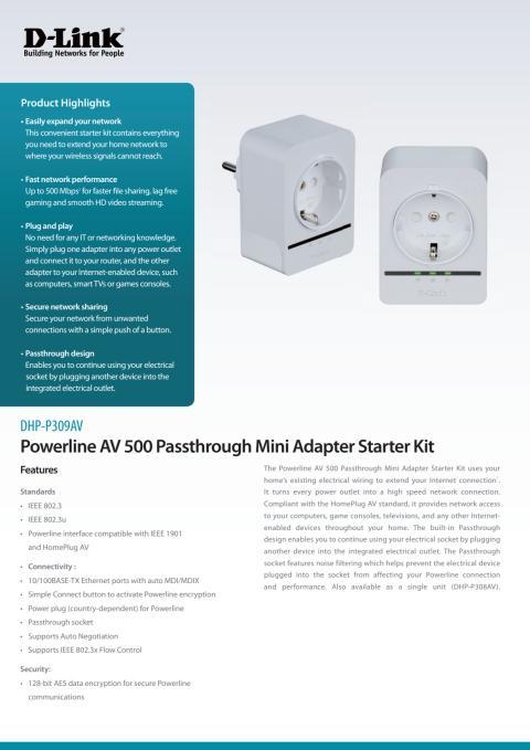 Produktblad, DHP-P308AV
