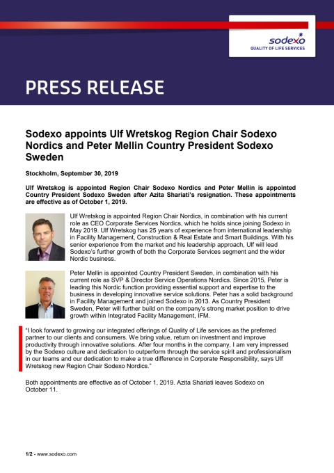 Sodexo appoints Ulf Wretskog Region Chair Sodexo Nordics and Peter Mellin Country President Sodexo Sweden