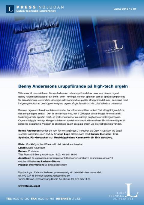 Benny Anderssons uruppförande på high-tech orgeln - Pressinbjudan