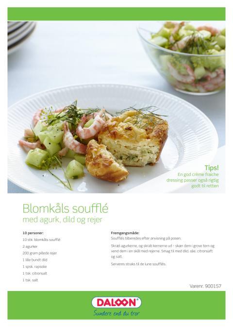 Opskrift: Blomkåls soufflé med agurk, dild og rejer