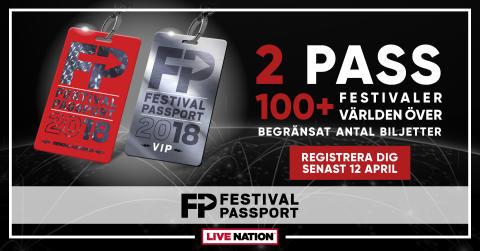 GÅ PÅ 100+ FESTIVALER VÄRLDEN ÖVER MED LIVE NATIONS FESTIVALPASS!