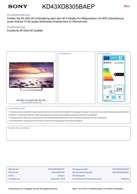 Datenblatt BRAVIA KD-43XD8305BAEP von Sony