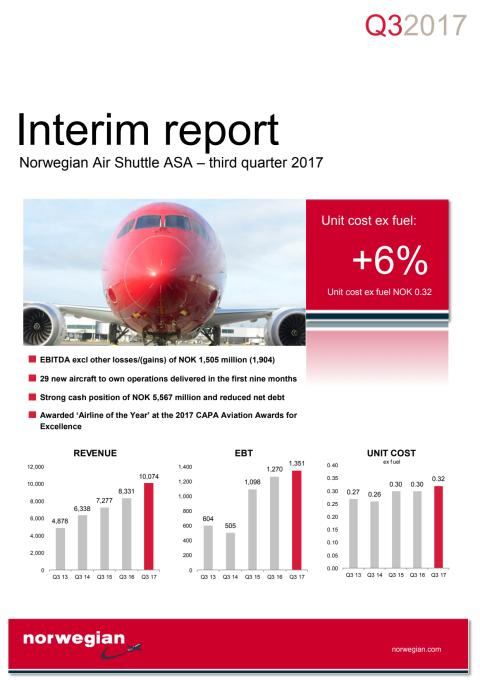 Norwegian Q3 2017 report