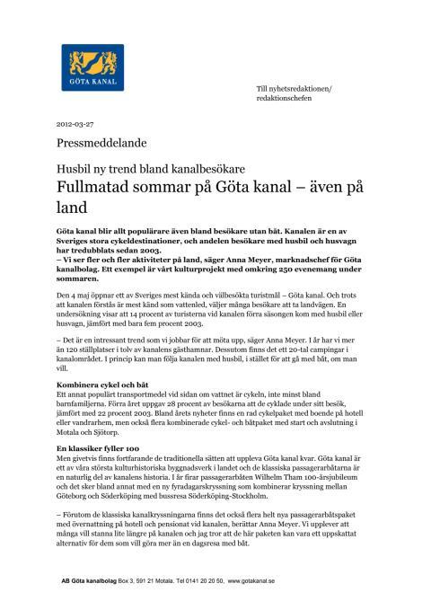 Pressmeddelande Fullmatad sommar på Göta kanal – även på land