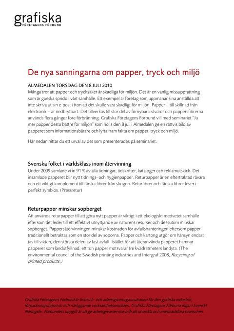 De nya sanningarna om papper, tryck och miljö