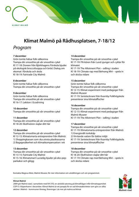 Malmö stad på Rådhusplatsen i Köpenhamn under COP15