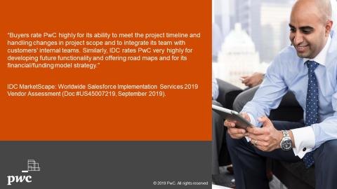 PwC named a Leader in the IDC MarketScape: Worldwide Salesforce Implementation Services 2019
