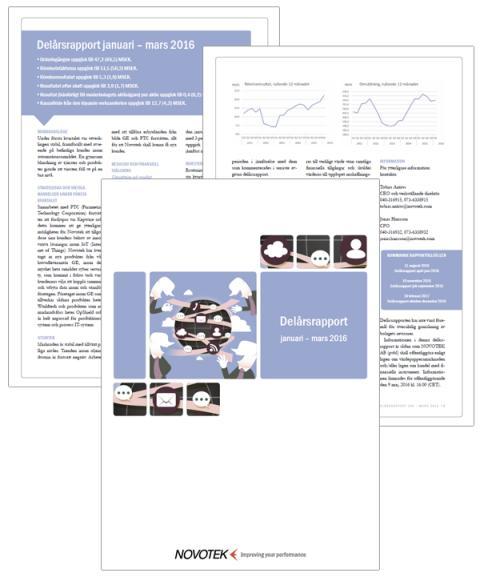 Novotek AB - Delårsrapport januari till mars 2016
