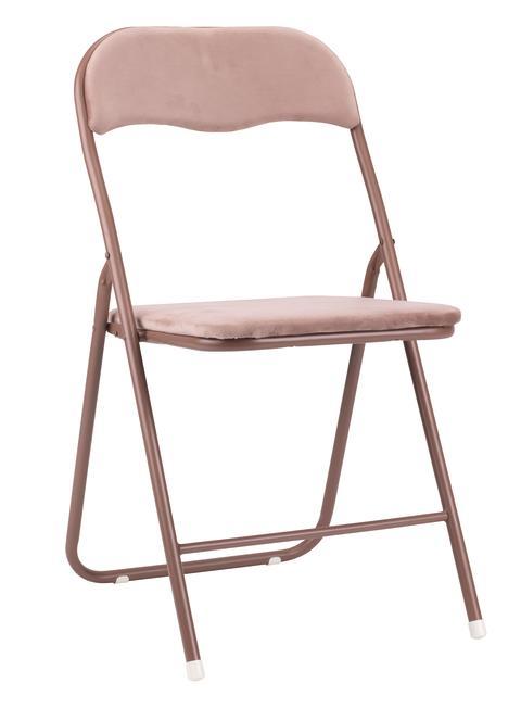 Kokoontaitettava tuoli VIG sametti roosa
