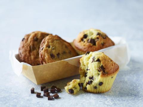 Muffins og cookies med chokoladechunks