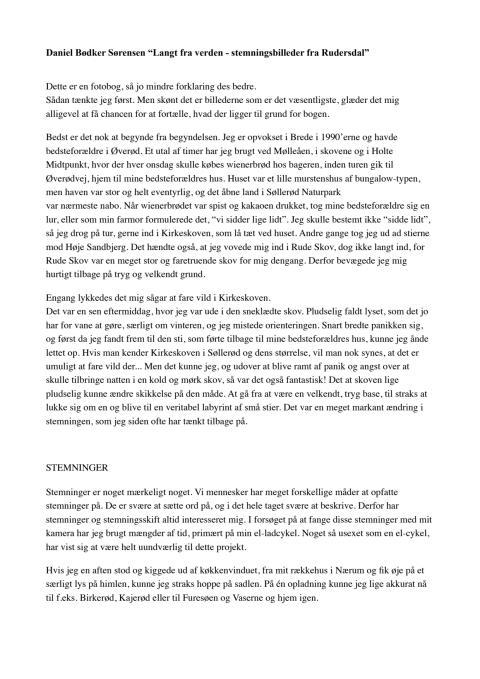 """Tekst fra bogen """"Langt fra Verden - Stemningsbilleder fra Rudersdal"""