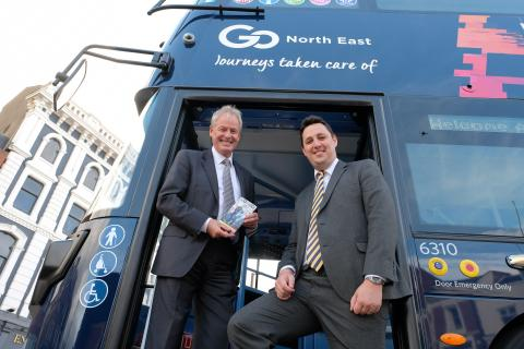 Kevin Carr (left) on board the new X9 X10 bus with Tees Valley Mayor Ben Houchen