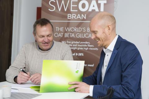 Peo Crona från Swedish Oat Fiber och Jonas Sörensson från Pemco Energi