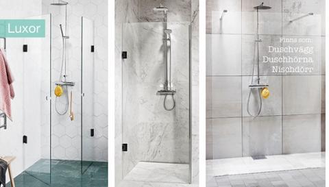Vår mest exklusiva duschvägg, en vertikal handdukstork och en LED-spegel för dagsljus