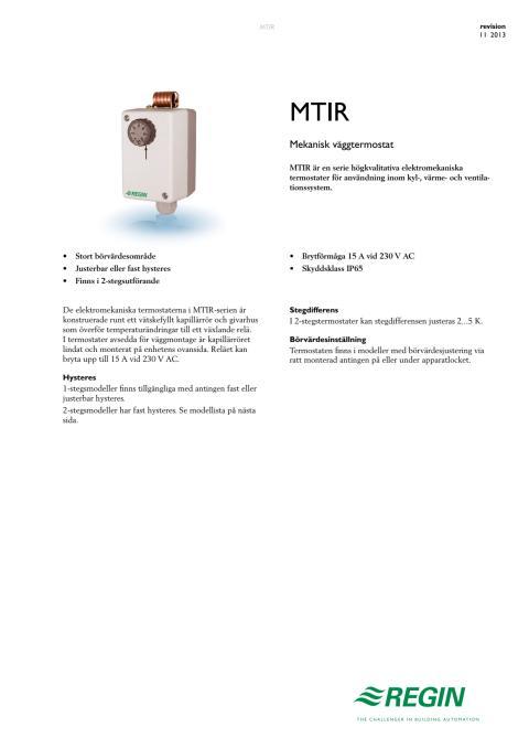 Produktblad för MTIR