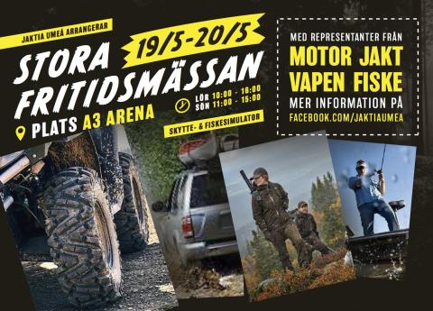 Motor, jakt och fiske när Stora Fritidsmässan skapar folkfest mitt i Umeå