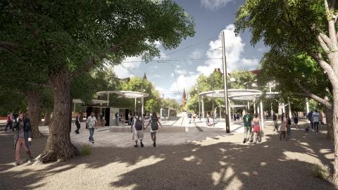Visionsbild: Spårvagnshållplats Clemenstorget. Byline: Lunds kommun