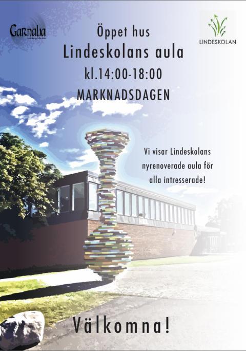 Inbjudan till öppet hus i Lindeskolans nya aula
