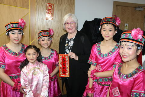 Local families Celebrate Chinese New Year in North Glasgow. MSP for Maryhill and Springburn Patrica Ferguson enjoys Chinese New Year at Saracen House.