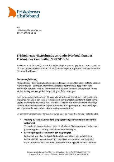 Yttrande Friskolekommittén - Friskolornas riksförbund