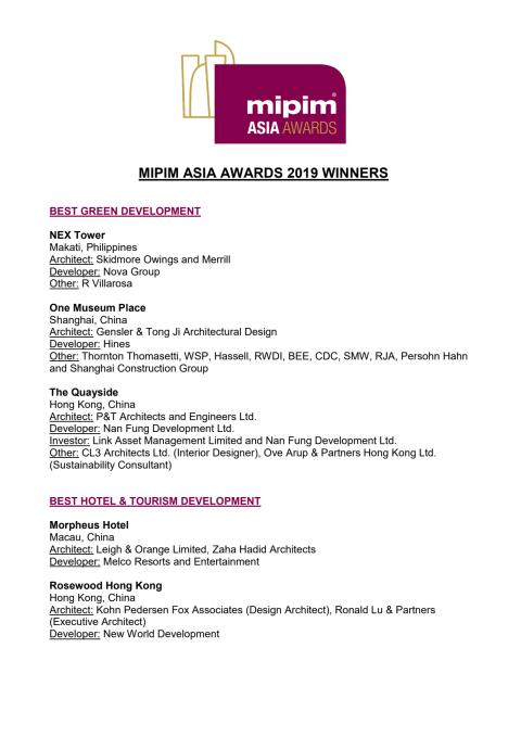 MIPIM ASIA AWARDS 2019 WINNERS LIST