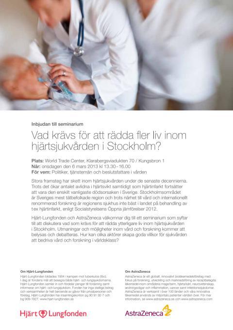 """Program till seminariet """"Hur kan hjärtsjukvården rädda fler liv i Stockholm?"""""""