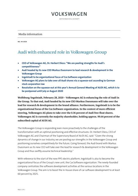 Audi with enhanced role in Volkswagen Group