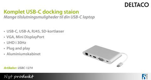 Komplet USB-C docking station fra DELTACO