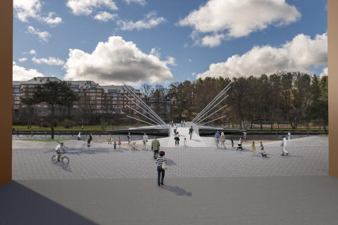 Fotomontage av broförslaget Vingspann