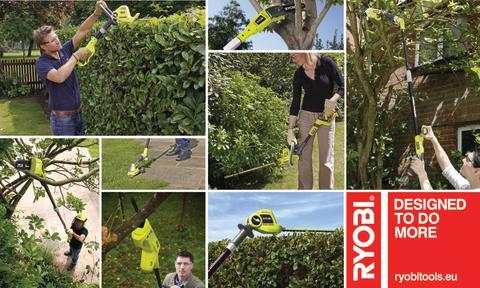 Håll fötterna på jorden med nya trädgårdsmaskiner från Ryobi® med extra lång räckvidd.