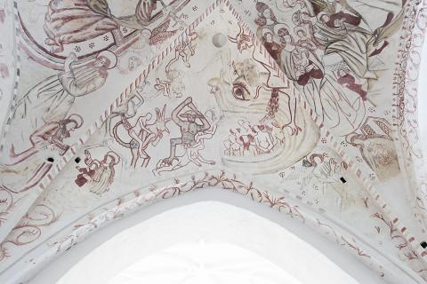 Helvedesgabet - kalkmaleri i Sanderum Kirke - fra Danmarks Kirker