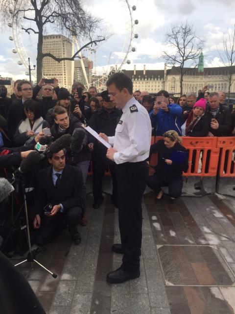 Commander BJ Harrington speaking to media