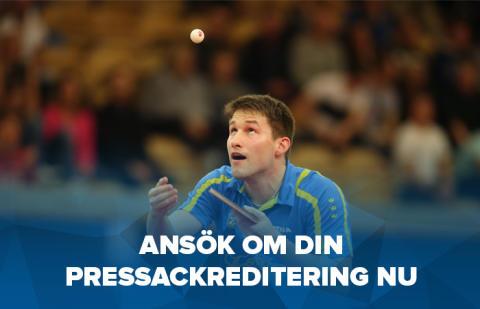 Pressackreditering lag-VM bordtennis i Halmstad
