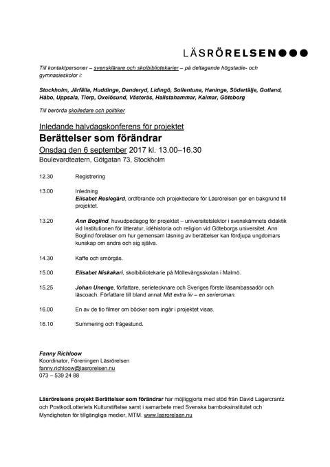 Program Berättelser som förändrar STOCKHOLM