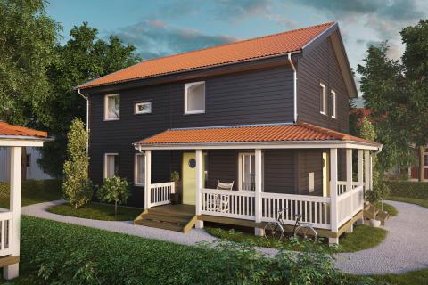 Ett hus byggs på Hem och Villa mässan.
