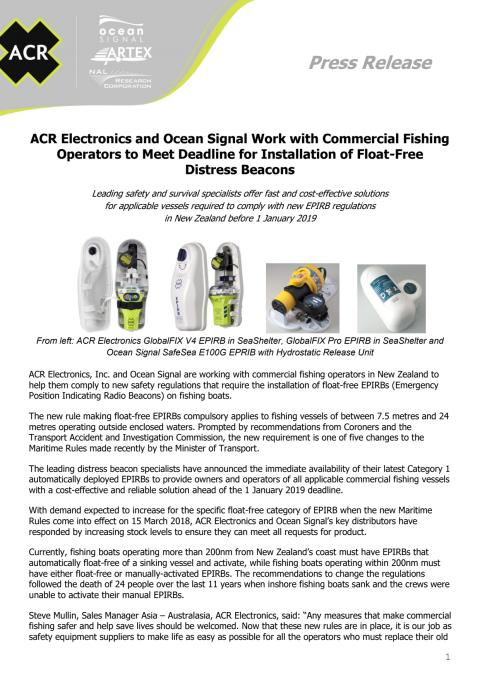 ACR Electronics and Ocean Signal Work with Commercial Fishing Operators to Meet Deadline for Installation of Float-Free Distress Beacons