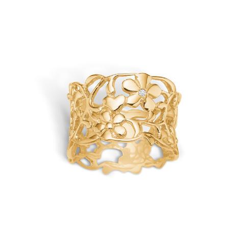 Gullforgylt sølvring med en liten diamant 1750,-